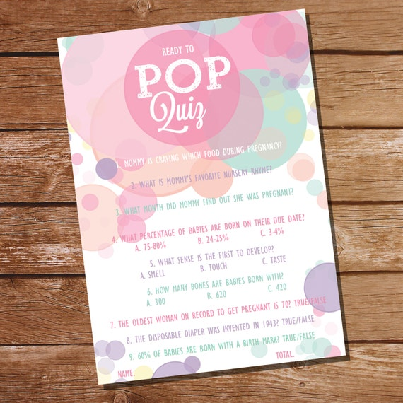 Ready To Pop Baby Shower Pop Quiz Baby Shower Game Girl Baby