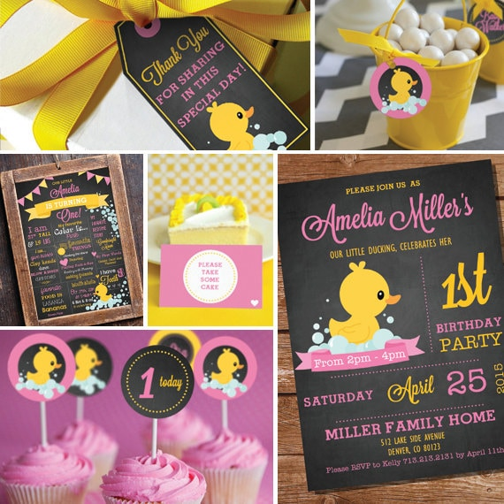 chalkboard rubber duck birthday party theme girl first etsy