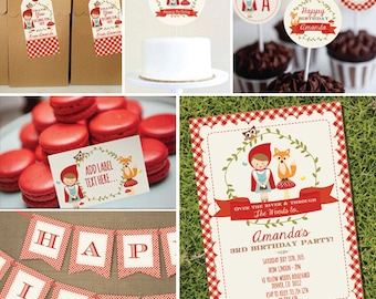 Little Red Riding Hood Printable Party Set - Red Riding Hood Party - Instant Download and Editable File - Personalize with Adobe Reader