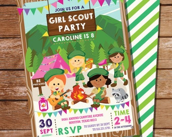 Girl Scout Party Invitation - Girl Scout Birthday Party  - Camping Invitation - Instant Download and Edit File with Adobe Reader