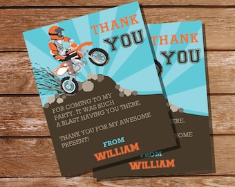 Dirt Bike Party Thank You Cards - Party Favors - Instant Download and Editable File - Personalize at home with Adobe Reader