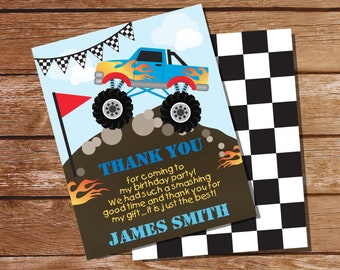 Monster Truck Thank You Card - Monster Truck Note Card - Truck Birthday Party Thank You Card - Instant Download - Editable File