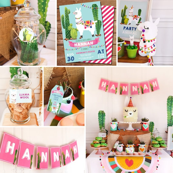 b7ad84f9f43bb Llama Party Decorations - Alpaca Cactus Theme - Llama Party Decor - Instant  Download and Edit File at home with Adobe Reader