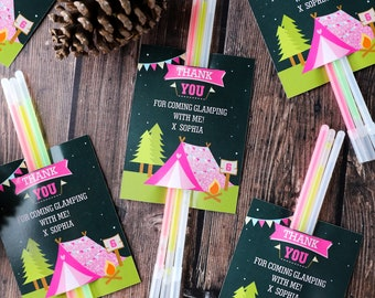 Glamping Party Favors - Thank You Tags - Glamping Editable - Instant Download & Editable File -Personalize at home with Adobe Reader