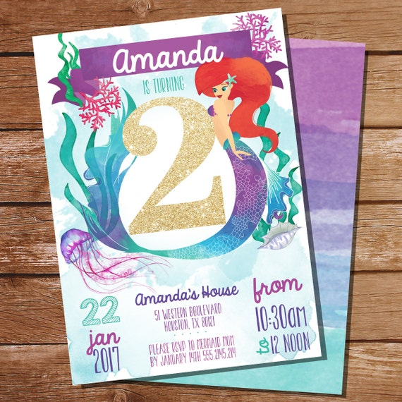 mermaid under the sea 2nd birthday party invitation watercolor