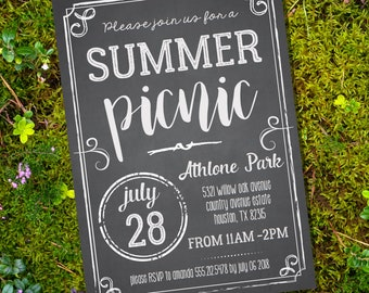 Picnic Party Invitation - Summer Picnic Party Invite - Chalkboard Party Invitation - Instantly Download and Edit File at home