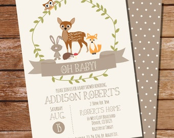 Woodland Baby Shower Invitation for a Boy or Girl - Unisex Baby Shower - Woodland - Instant Download - Edit File at home with Adobe Reader