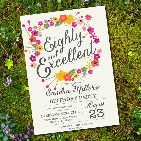 Floral Eightieth Birthday Invitation 80th Birthday