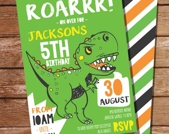 Dinosaur Party Invitation - Boys Dinosaur Party Invitation - T-Rex Party Invitation - Instant Download and Edit at home with Adobe Reader