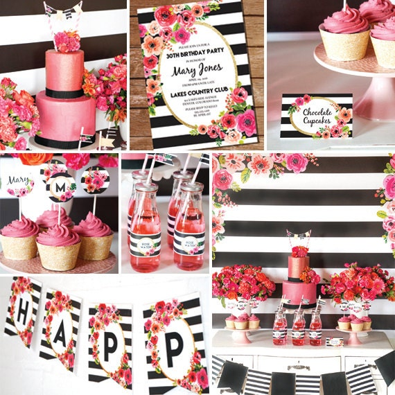Black And White Stripe Party Decorations