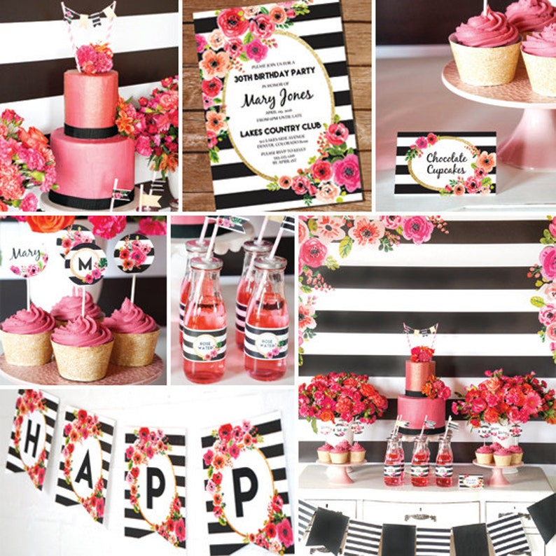 Black And White Stripe Party Decorations Watercolor Floral Image