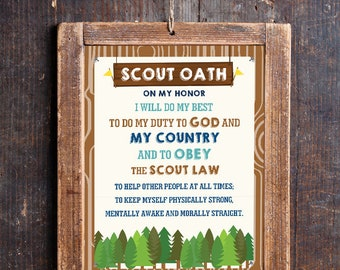 Boy Scout Oath Poster - Boy Scout Honor Print - Instant Download and Edit File with Adobe Reader