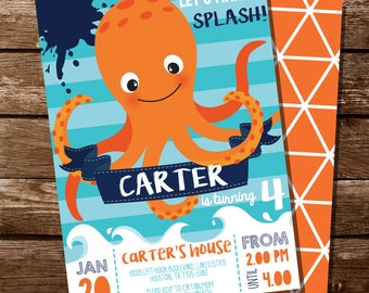 Octopus Party Invitation - Under The Sea Party Invitation - Sea Creature Party Invitation - Instant Download and Edit with Adobe Reader