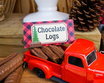 Little Lumberjack Decorative Food labels - Instant Download and Edit File at home with Adobe Reader - Print at home