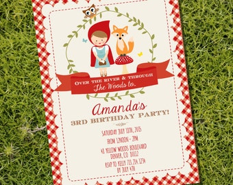 Little Red Riding Hood Party Invitation - Woodland Invitation - Instant Download and Edit File at home with Adobe Reader