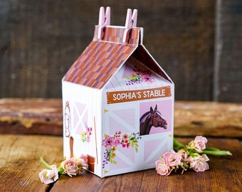 Horse Party Carton Box - Horse Stable Favor Box - Pink Horse Party - Instant Download and Edit with Adobe Reader