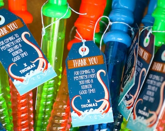Kraken Birthday Party Favor Tags - Octopus Favors - Sea Creature Party Favors - Instant Download + Edit with Adobe Reader