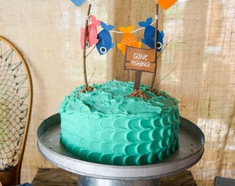 Gone Fishing Party Cake Topper - O-Fish-Ally Party Cake Topper - Instant Download and Edit File at home with Adobe Reader - Print at home