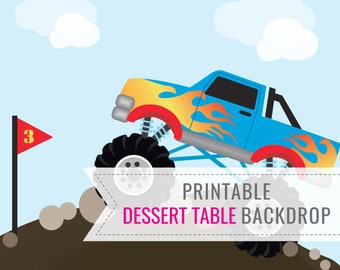 Monster Truck Party Printable BACKDROP ONLY - Birthday Backdrop - Dessert Table Backdrop - Monster Truck Party - Instant Download