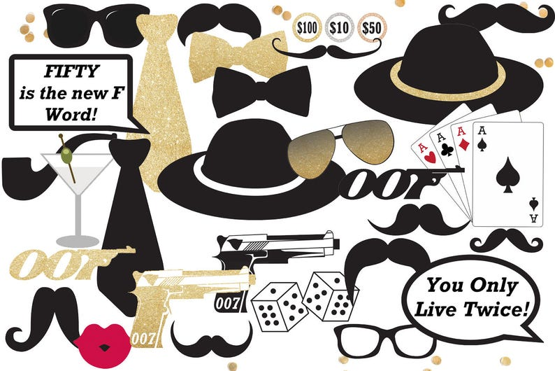 Casino Royal Photo Booth Props James Bond Party Decorations Etsy