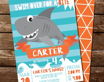 Shark Party Invitation - Shark Invite - Shark Party - Shark Invitation - Shark Bite Invitation - Instant Download - Editable File