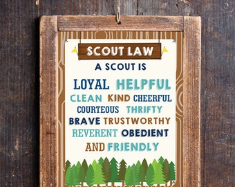 Boy Scout Law Poster - Printable Boy Scout Poster - Instant Download and Edit File with Adobe Reader