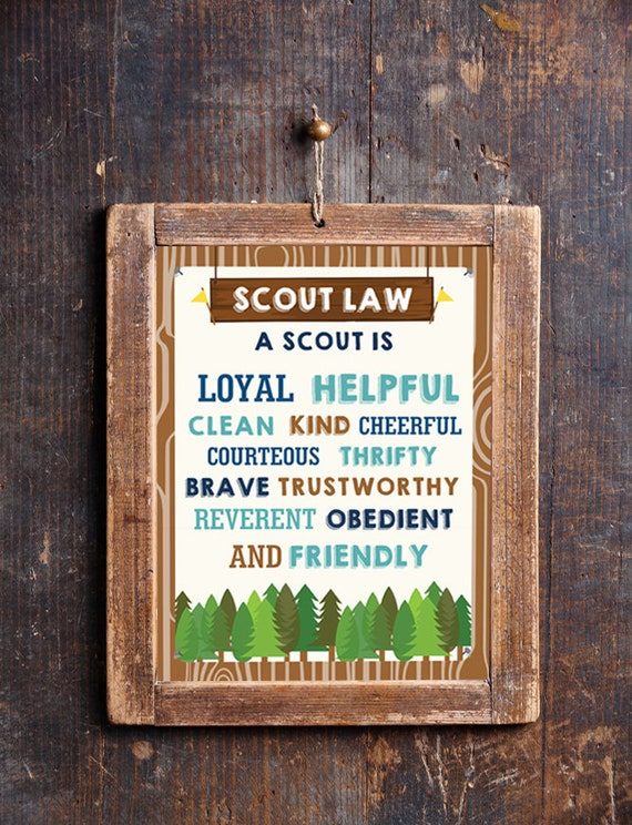 photograph about Boy Scout Law Printable named Boy Scout Legislation Poster - Printable Boy Scout Poster - Fast