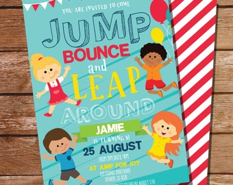 Jump Party Invitation - Jump House Party Invite - Jump Invitation - Instant Download and Edit with Adobe Reader