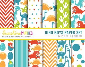 Dino Boys Digital Paper Set - Digital Paper Bundle - Boys Fun Dinosaur Set - Instant Download