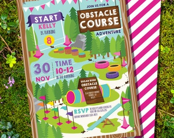 Obstacle Course Party Invitation - Girls Activity Party Invite - Girls Obstacle Course Invitation -Instant Download and Edit in Adobe Reader