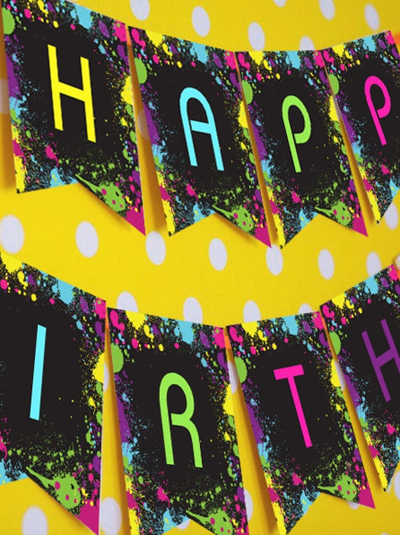 neon glow party happy birthday banner instantly downloadable and