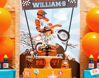 Dirt Bike Party Welcome Poster Only - Motocross Welcome Poster - Instant Download and Editable File - Personalize with Adobe Reader