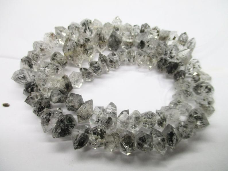 8-10 MM Double Terminated  Rutilated Natural Herkimer Crystal Type Diamond Quartz Beads strands Pakistan HE90