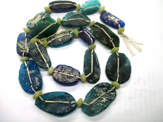 Stunning Genuine Ancient Roman Multicolored Glass  Fragment beads with Extreme Patina 1000-1500 years old G633