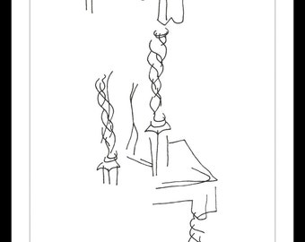 """Black and White Art Print. """"Dining Room Chair"""" - Pen and ink blind contour drawing of a dining room chair. Very Styalized A5"""