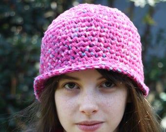 Warm Winter Child's Cloche Hat Beanie in Pink