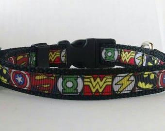 Superhero Dog Collar - Adjustable Dog Collar - Superman, Green Lantern, Batman, Flash, Captain America, Spiderman