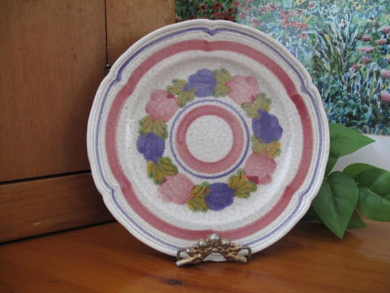 Four Vintage Ninon MBFA Pornic France Hand Painted Saucers ONLY c 1970/'s