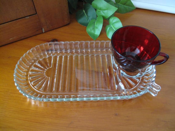 Vintage Anchor Hocking Glass Four Clear Ribbed Oval Snack Plate and Royal Ruby Cup Sets Circa 1940s