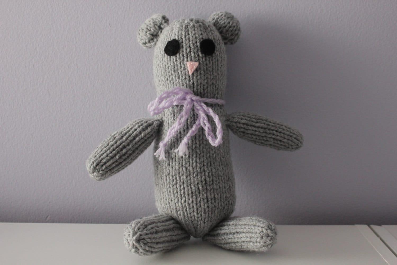 Marble The Grey Teddy Bear Handmade Knitted Bear Ready To