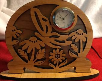 Laser Engraved Cherry Desk Clock