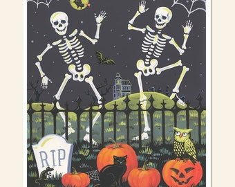 Skeleton Print, Halloween Print,  Retro Halloween Decor, Vintage Halloween, Spooky Art, Pumpkins, Graveyard, Haunted House,