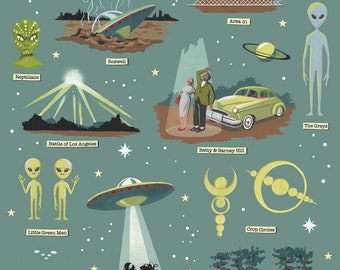 UFO Print, Flying Saucer Poster, Retro Space, Roswell, Area 51, Aliens, Science Nerd Gift, Geek Gift