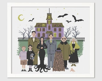 Addams Family Cross-Stitch Pattern - Gothic Needlepoint - Halloween - Instant Download PDF - Digital
