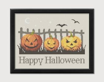 Jack-O-Lantern Cross-Stitch Pattern - Halloween Pumpkin Counted Cross-stitch - Needlepoint Pattern  - Instant Download PDF - Digital