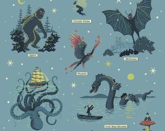 Cryptozoology Print, Cryptids Poster, Big Foot, Loch Ness Monster, Kraken, Mothman, Science Nerd Gift, Geek Gift, Paranormal, Fortean