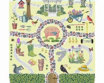 Secret Garden Print, Gardening, Spring, Summer, Retro, Gardener's Gift ,Green Thumb