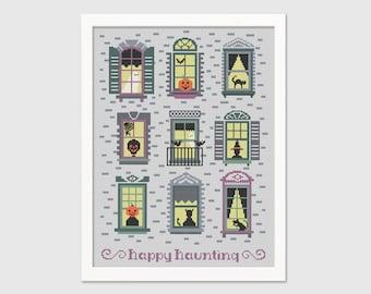Happy Haunting Cross Stitch Pattern - Halloween Needlepoint Pattern - Instant Download PDF - Digital