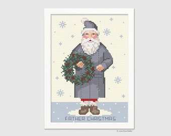 Father Christmas Cross Stitch Pattern - Santa Claus  - Counted Cross-stitch - Needlepoint Pattern - Instant Download PDF - Digital