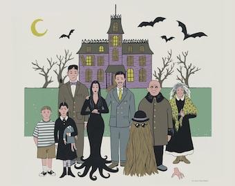 Addams Family Print  - Spooky Gothic Family - Halloween Art
